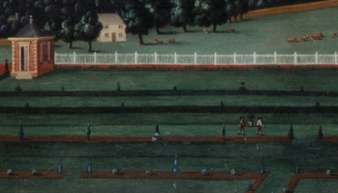 Halswell, painted c. 1710, with gardens carrying potted trees into position in the formal layout.