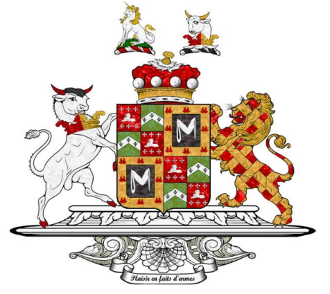 The arms of the Kemeys-Tyntes upon their ennoblement to the Barony of Wharton in 1916.