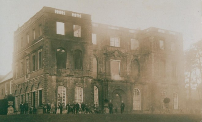 Halswell's Baroque north range after the fire of 1923. The interiors were immediately restored precisely as they had been, while further upgrades were carried out throughout the whole house, a rare restoration in a century of mass country house destruction.