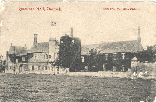 Beaupre Hall, a fortified mansion, complete with castellated gatehouse, exemplified early domestic architecture. Shortly before its demolition in 1966 it was photographed with an advancing army of small, box likebungalowswithin metres of the medieval walls.