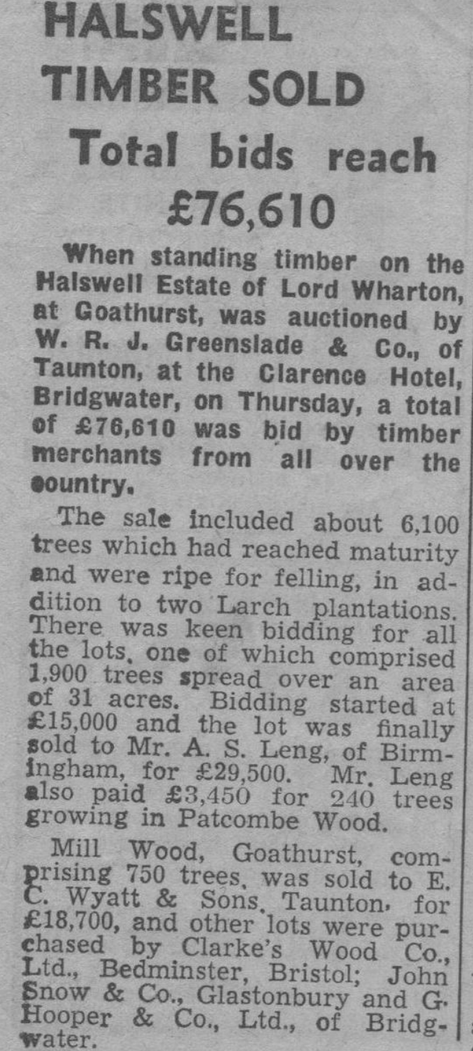 1950, Bridgwater newspaper report.