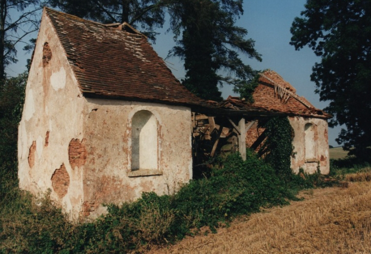 Robin Hood's Hut in the 1990s before its restoration by the Somerset Building Preservation Trust and the Lamb's Hut in the 1990s before its restoration by Mr James Broughton.