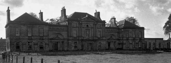 Balbardie House, 1792,West Lothian, Scotland. Designed byRobert Adam, it has been described as his best classical house in Scotland. Destroyed in two stages, 1954 and 1975.