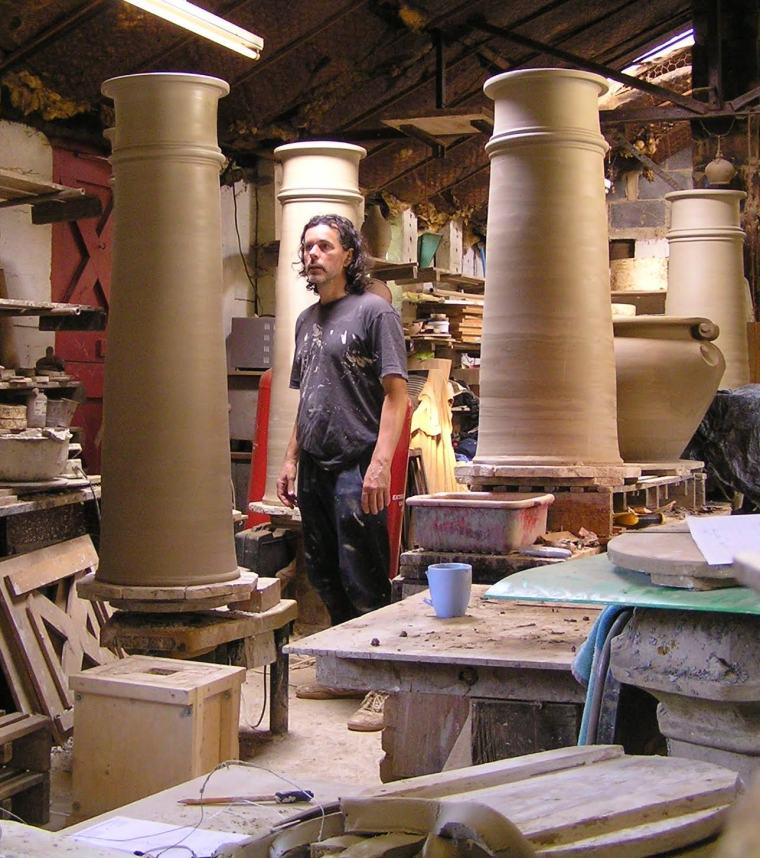 Clay chimney pots(larger than those made for Halswell), being thrown by West Meon Pottery, specialists who have re-created period pots for The National Trust, The British Museum and Kensington Palace amongst others.