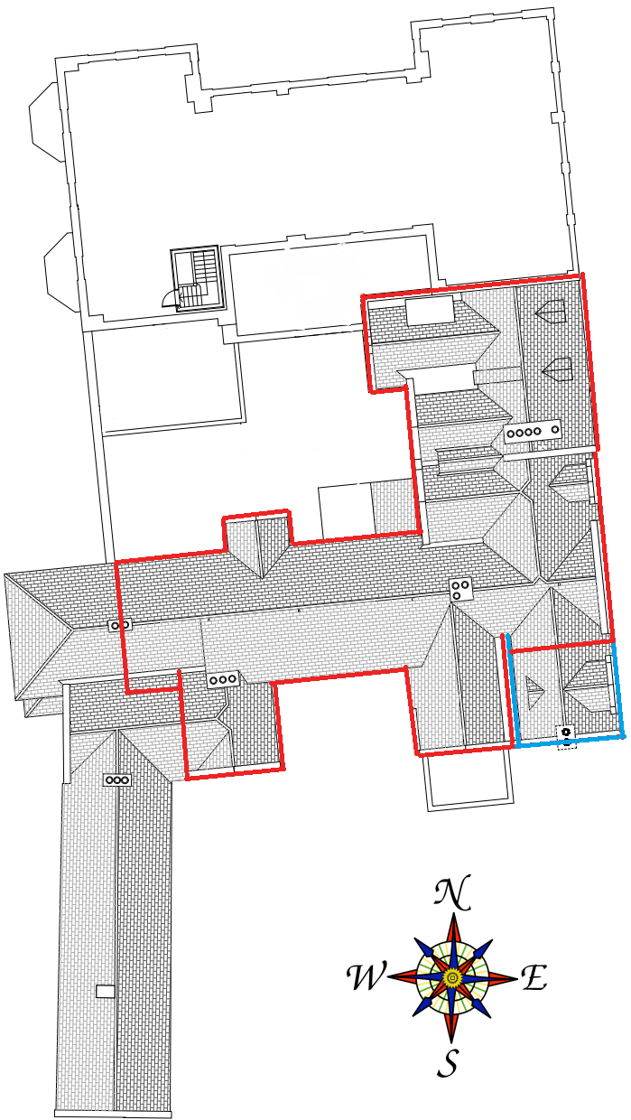 The roof plans of Halswell, courtesy of Claire Fear of Architectural Thread Ltd. The areas highlighted in red correspond to the Tudor Great Hall, which takes up the northern half of the east range, the 1590's south range and the three gabled additions to the Great Hall in the east of the courtyard.