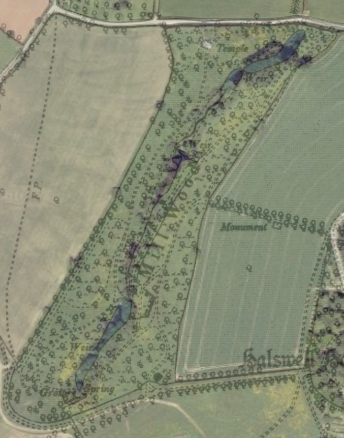 Mill Wood as seen by overlaying a 2015 aerial photograph with the 1897 Ordnance Survey map. These pathways through the woodland will be restored.