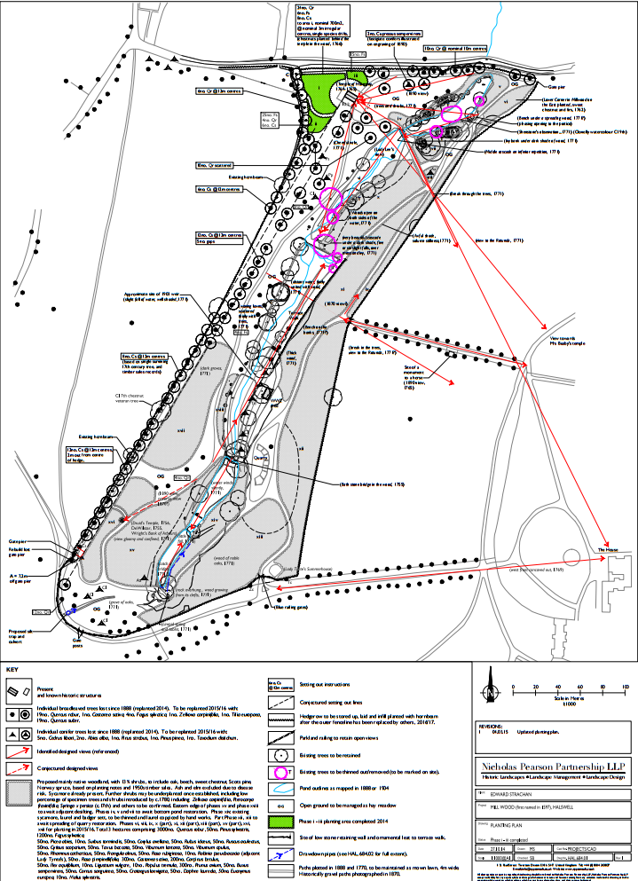 2016: The Mill Wood planting plan by Simon Bonvoisin of Nicholas Pearson Partnership which, within the areas of Mill Wood itself, is now being enacted in full.