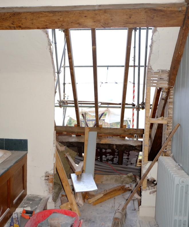 The removal of the offending modern dormer windows in the top floor of the Great Hall. (Courtesy of Architectural Thread.)