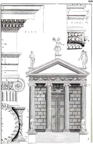 Engraving of the Temple of Portunus in Rome, from Isaac Ware's English edition (1738) of I quattro libri dell'architettura by Palladio.