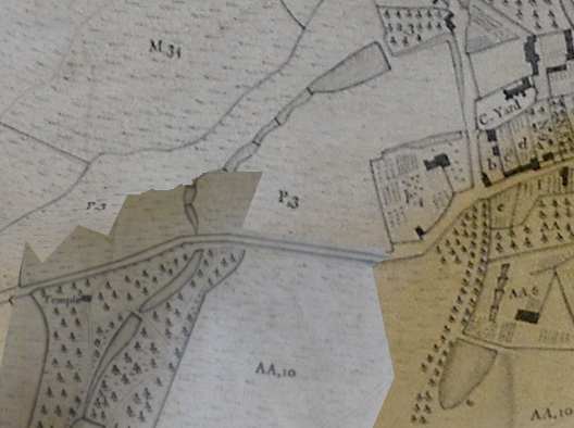 1771 Estate map by William Day. The roadside cascade is on the southern side of the road that passes the northern end of Mill Wood, near to where the Temple of Harmony is marked on the left of this map.