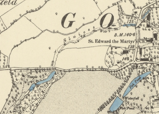 1887 Ordnance Survey Map with the position of the roadside cascade to the immediate north of Mill Wood, the water flow and associated remains of the old weirs or sluices weave north east toward St Edward's Church, Goathurst.