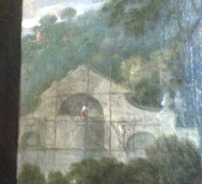 William Hogarth, detail of the construction of the bridge from his portrait of Sir Charles, c. 1753.