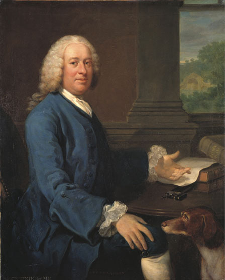 Charles Kemeys-Tynte chose to have himself depicted with books on gardening and his prised Bath Stone Bridge being built behind him.