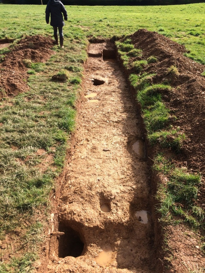 The Druid's Hut 2015: Archaeology by Mr. James Brigers which has revealed the original postholes which allow for an accurate circumference of the building and therefore the full dimensions for re-construction.