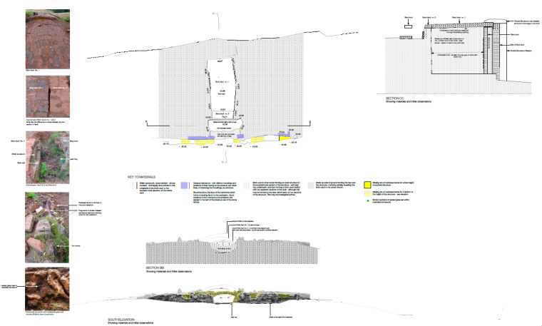South Facade (bridge remains) and cross section (Click to view full size)
