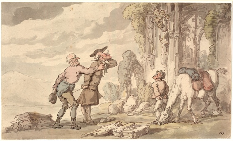 Thomas Rowlandson's caricature the hapless Dr Syntax academically in search for perfection in his famous series 'The Tour of Dr. Syntax in Search of the Picturesque'