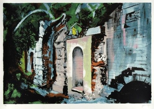 "John Piper (1903-1992) ""The Grotto, Halswell"" Executed in 1987 at the invitation of Dr. Roger White to visit and paint Halswell. Dr White returns to Halswell again in April 2016 leading his group from the Oxford Graduates Architectural Society."