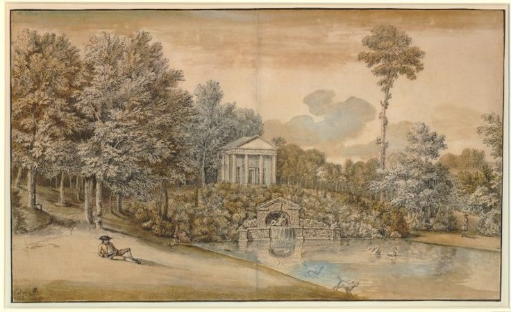Coplestone Warre Bampfylde of Hestercombe, Temple of Flora at Stourhead (originally called the Temple of Ceres). This picture pre-dates the building of the Stourhead dam in 1754.