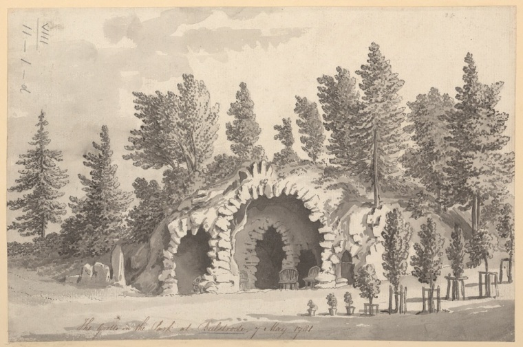 Mrs Mary Delany's 1781 designs for a grotto at Bulstrode Park (originally built for Judge Jefferys) for the Duchess of Portland.